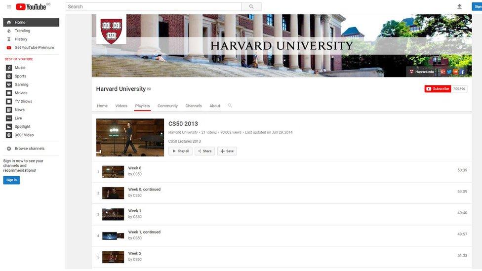 Página en youtube del curso