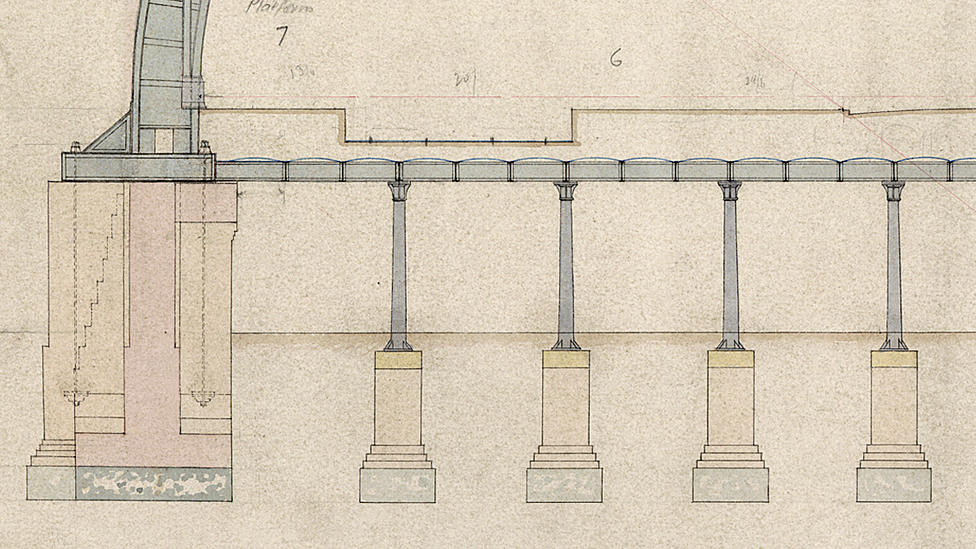 Plans for St Pancras station, London, 1860s (detail)