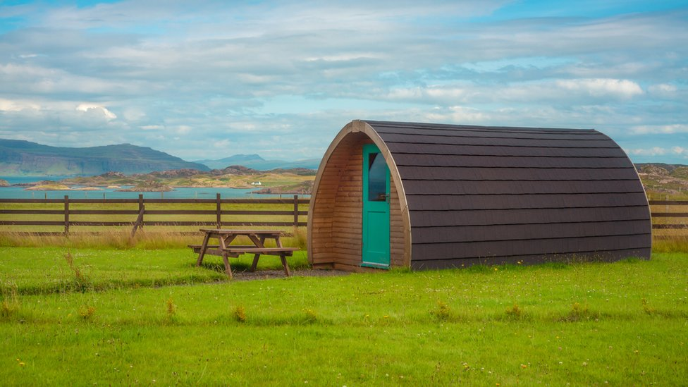 Camping Pod By the Sea On the West Coast of Scotland - stock photo