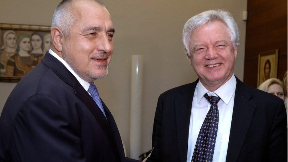 Bulgarian PM Boyko Borissov welcomes David Davis to Sofia