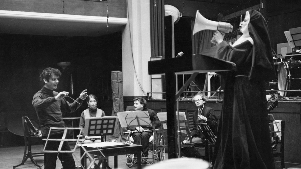 Sir Peter Maxwell Davies conducts Welsh soprano Mary Thomas in a rehearsal for Revelation And Fall. 1968
