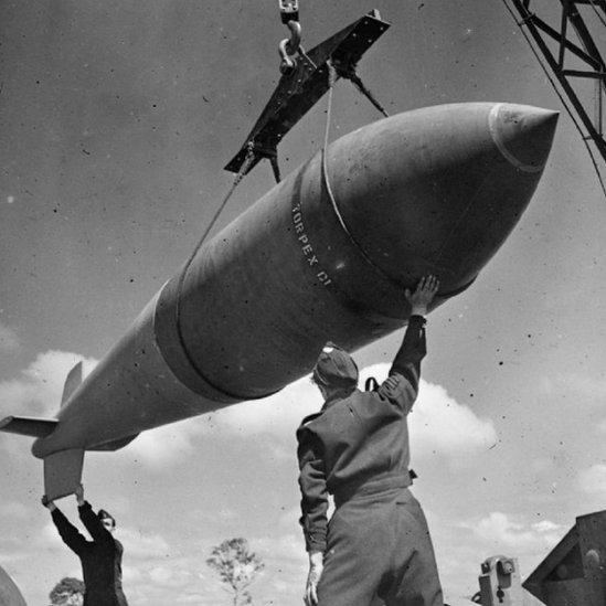 A Tallboy, 1 Jan 44 (Imperial War Museum archive, copyright expired)