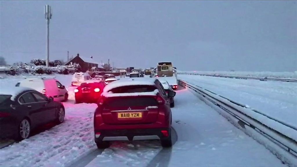 UK Snow: 'Carnage' on Cornwall roads