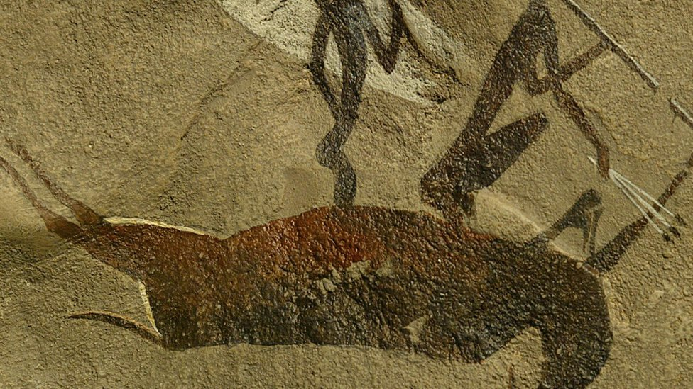 Picture shows a rock paintings made by the San people in the Drakensbreg mountains eastern South Africa