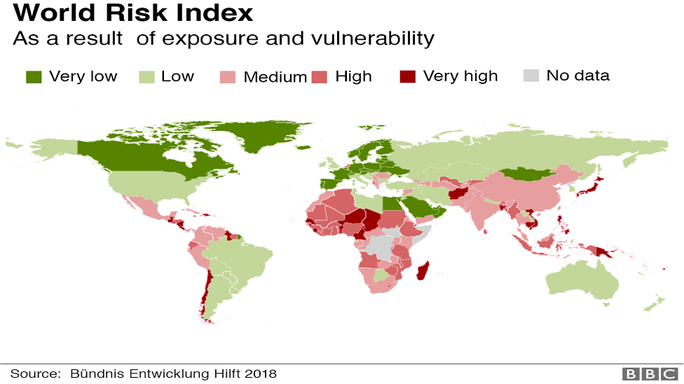 Negara-negara yang paling rentan mengalami bencana alam ditandai dengan warna merah.
