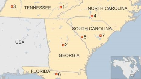 Map of US states where black churches have had fires recently - 1 July 2015