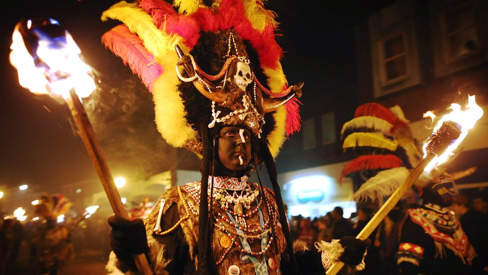 A Zulu costume used in previous years at the Lewes Bonfire