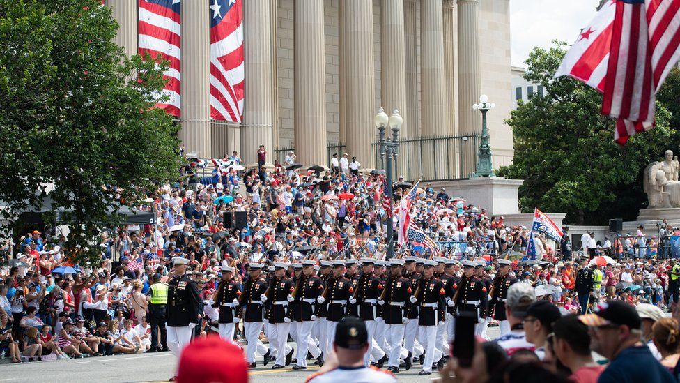 Image shows the Fourth of July parade in Washington DC last year