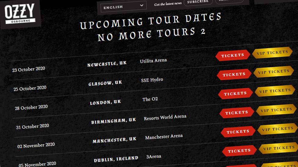 Screen grab of Ozzy Osbourne's website showing tickets on sale