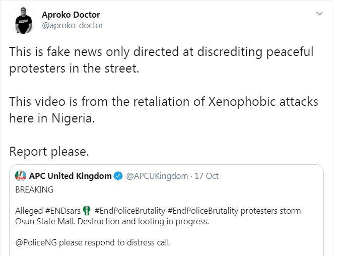Una captura de pantalla de un tweet que afirma que un video era un video antiguo