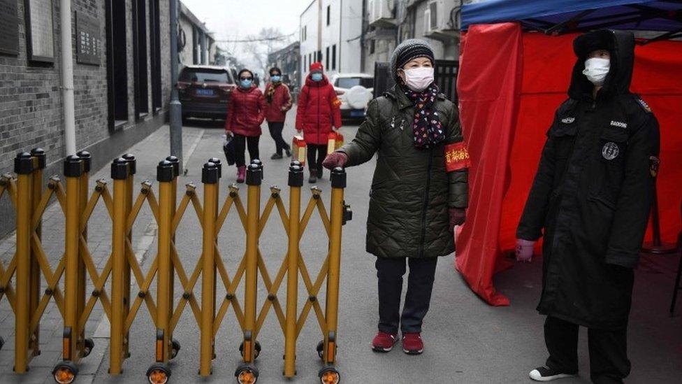 Punto de control en Pekín.