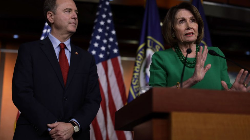 House Intelligence Committee Chairman Adam Schiff and Speaker of the House Nancy Pelosi (right)