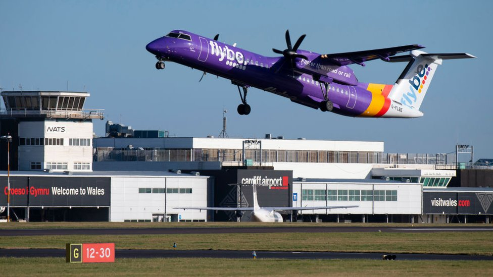 A Flybe plane taking off or landing at Cardiff Airport