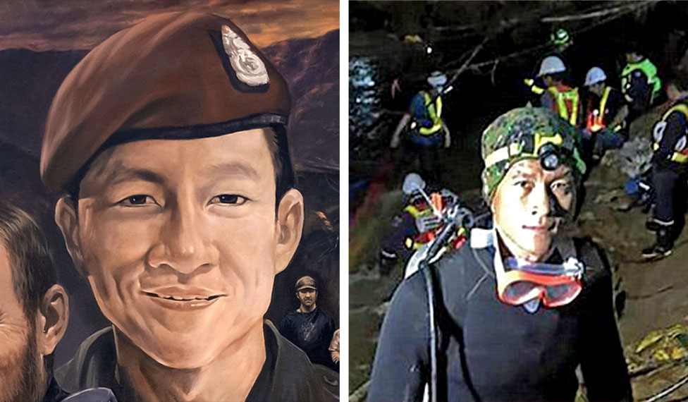 A mural image of diver Saman Gunan on the left side and a photo of Saman Gunan on the right side
