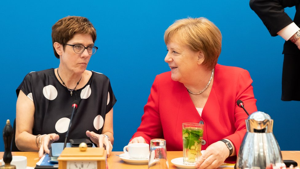 German Christian Democratic Union (CDU) party chairwoman Annegret Kramp- Karrenbauer (L) and German Chancellor Angela Merkel (R) talk during a board meeting at CDU headquarters in Berlin, Germany, 24 June 2019