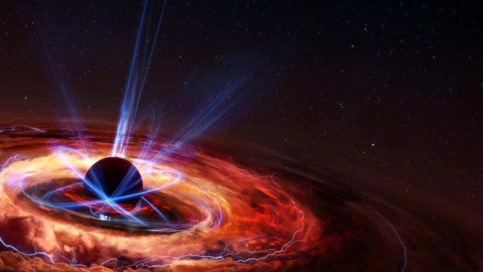 Representación de un agujero negro formándose.