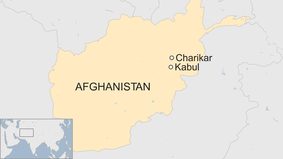 Map of Afghanistan highlighting Kabul and Charikar