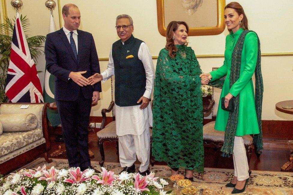 Cambridges with Pakistan's President Arif Alvi and First Lady, Samina Alvi