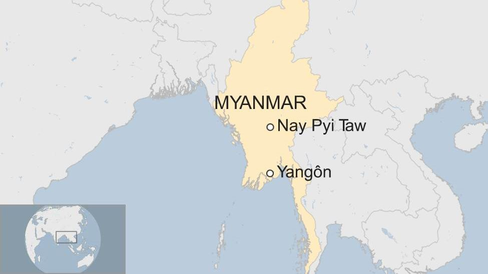A map showing where Nay Pyi Taw and Yangon are in Myanmar
