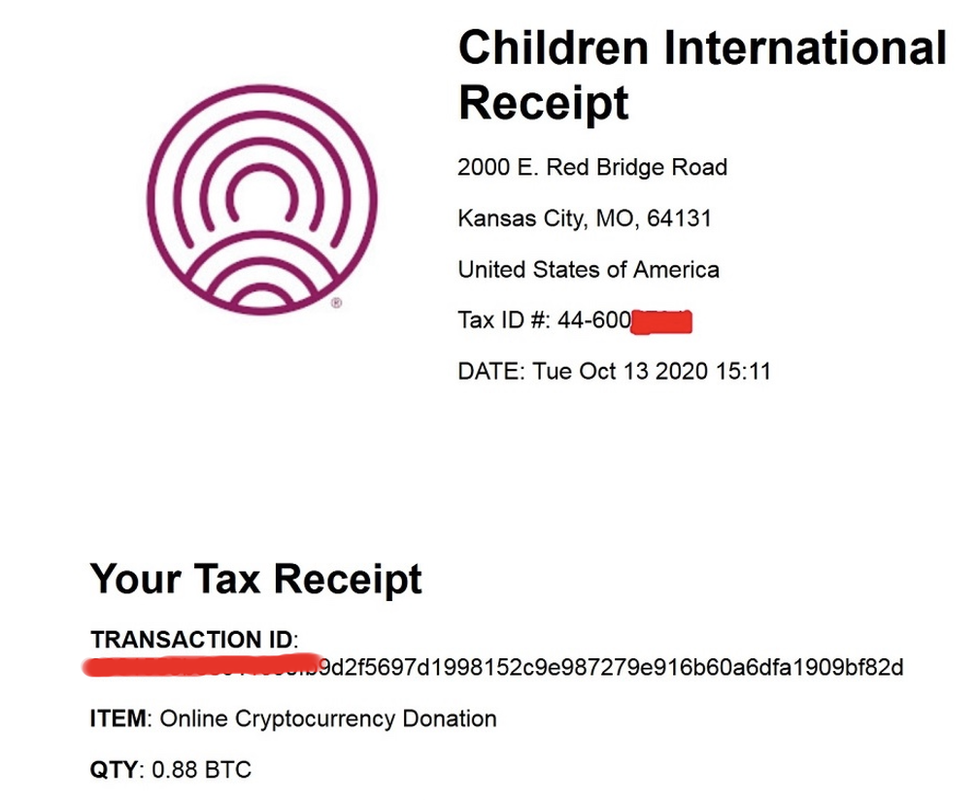 tax recept for hacker donation