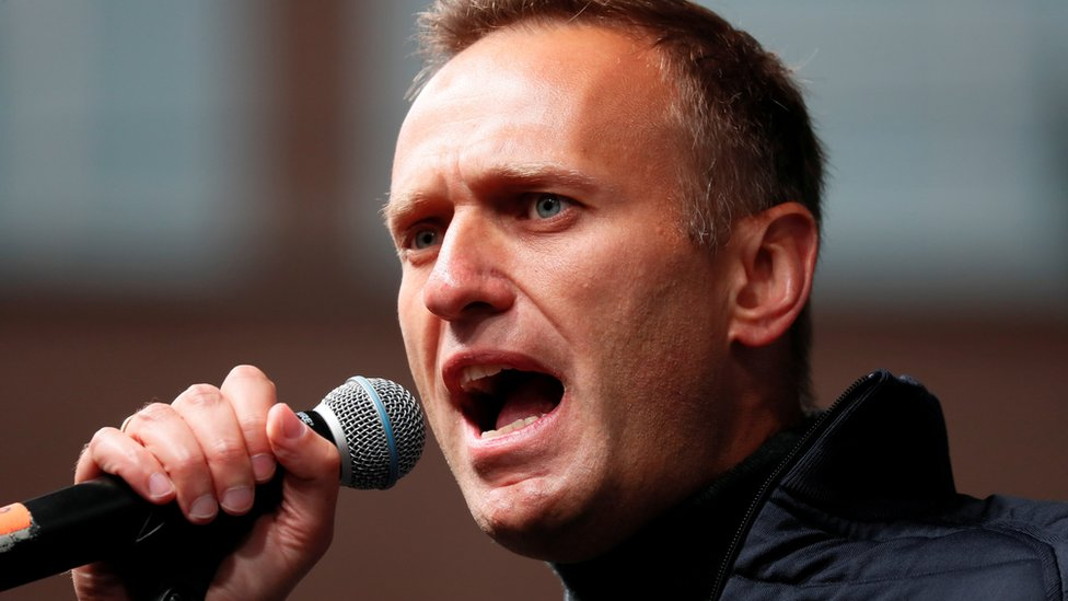 Russian opposition leader Alexei Navalny delivers a speech during a rally to demand the release of jailed protesters, who were detained during opposition demonstrations for fair elections, in Moscow, Russia September 29, 2019.