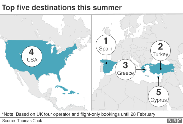 Map showing top 5 holiday destinations