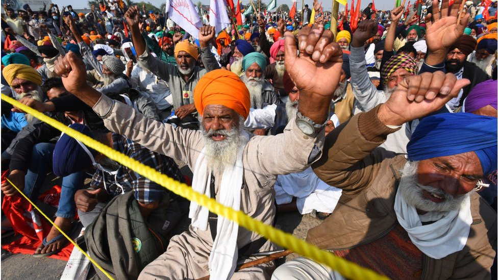 Protesting farmers at Delhi's border