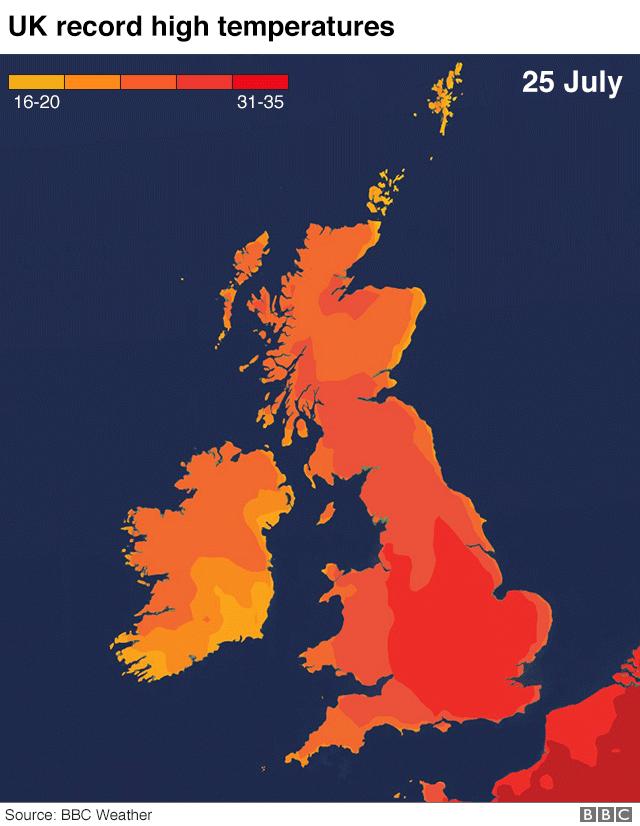 UK temperatures heatmap