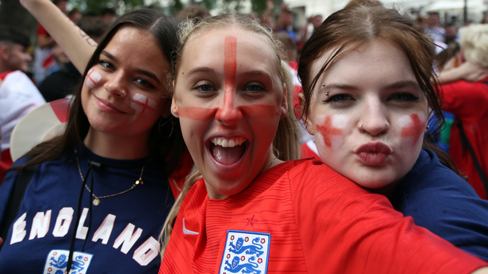 England fans gather in the West End ahead of the Euro 2020 final against Italy in London, UK, on 11 July 2021