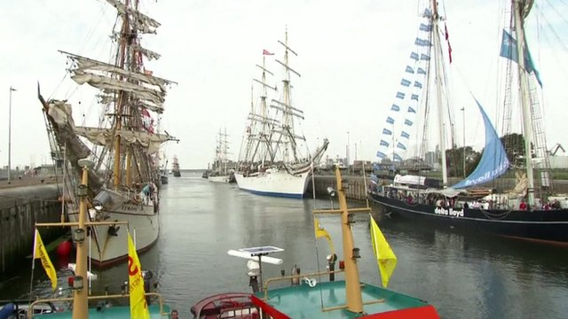 Tall ships taking part in the SAIL Amsterdam nautical festival