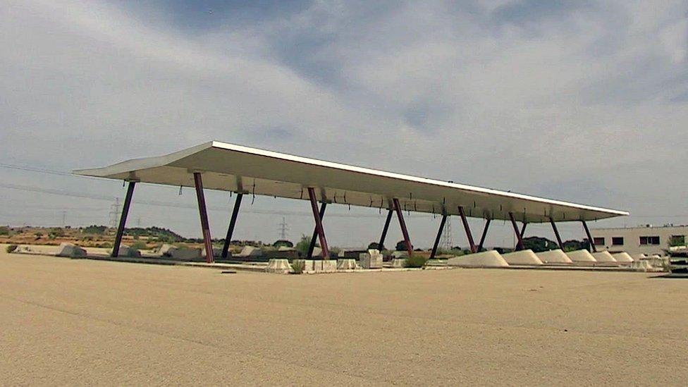 Half-built motorway toll-booths