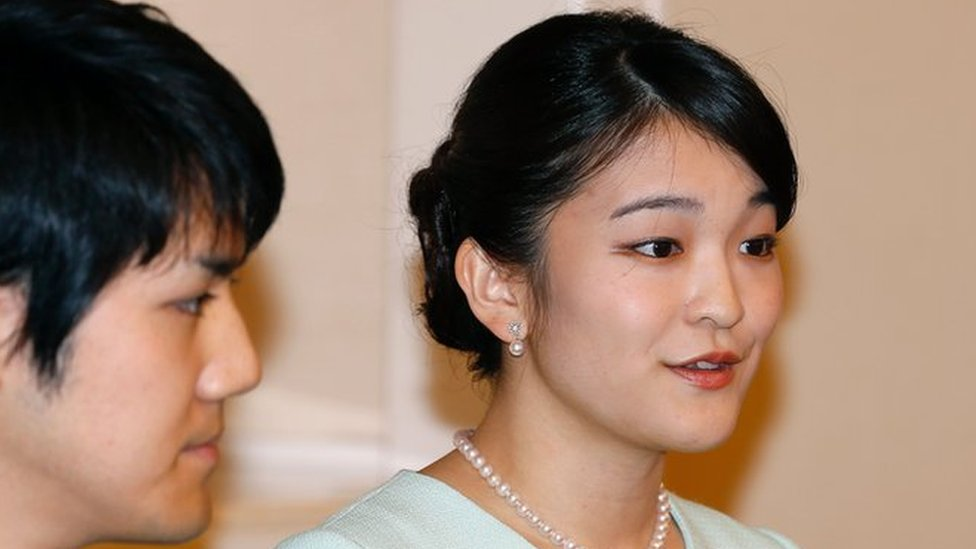 Princess Mako and Kei Komuro at a press conference to announce their engagement in September 2017.