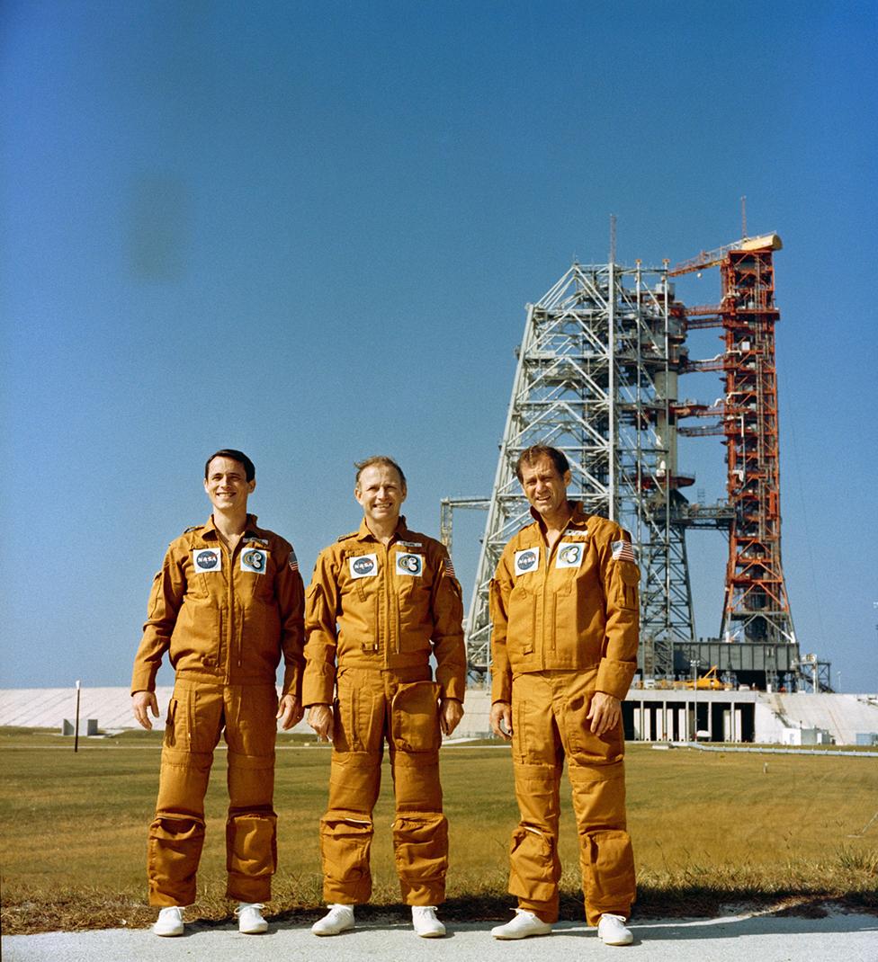 Tripulantes de la misión Skylab 4 eran Ed Gibson (izquierda), Gerald Carr y William Pogue