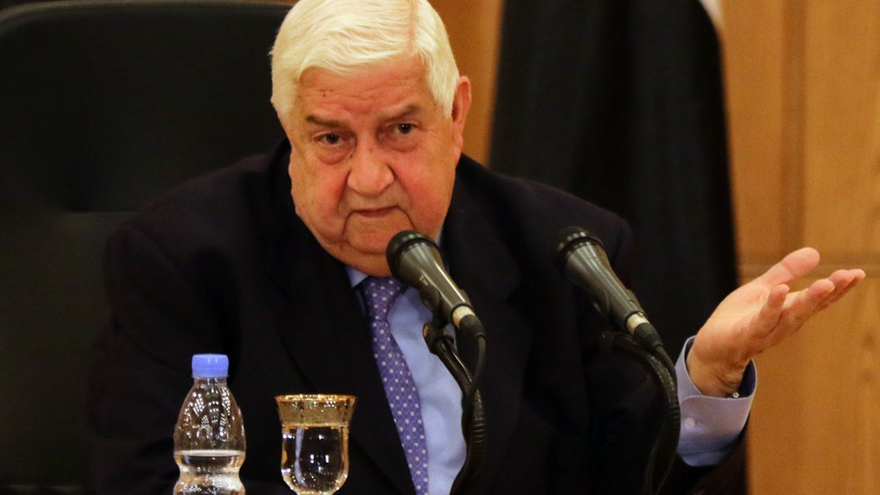 Syrian Foreign Minister Walid Muallem speaks during press conference on 12 March 2016 in the capital Damascus.
