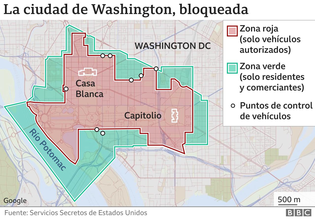 Mapa de bloqueo de calles en la ciudad de Washington.