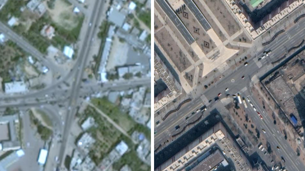 Imagen de Gaza obtenida con Google Earth en la izquierda y una imagen de Pyongyang, Corea del Norte, en la derecha.