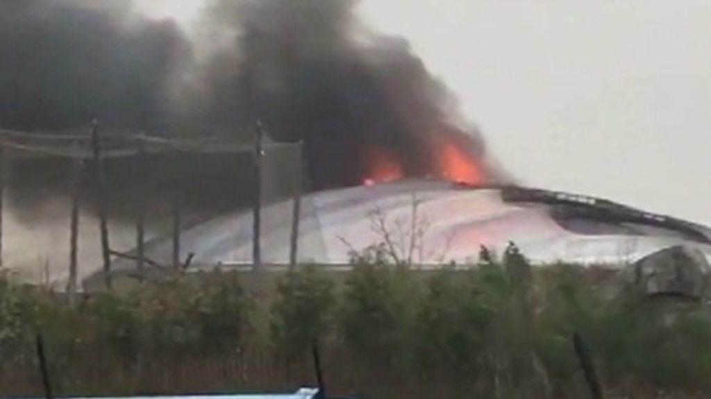 Flames and smoke as zoo fire takes hold