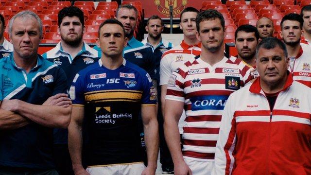 Leeds Rhinos and Wigan Warriors players