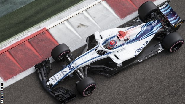 George Russell takes part in end of season testing for Williams in Abu Dhabi
