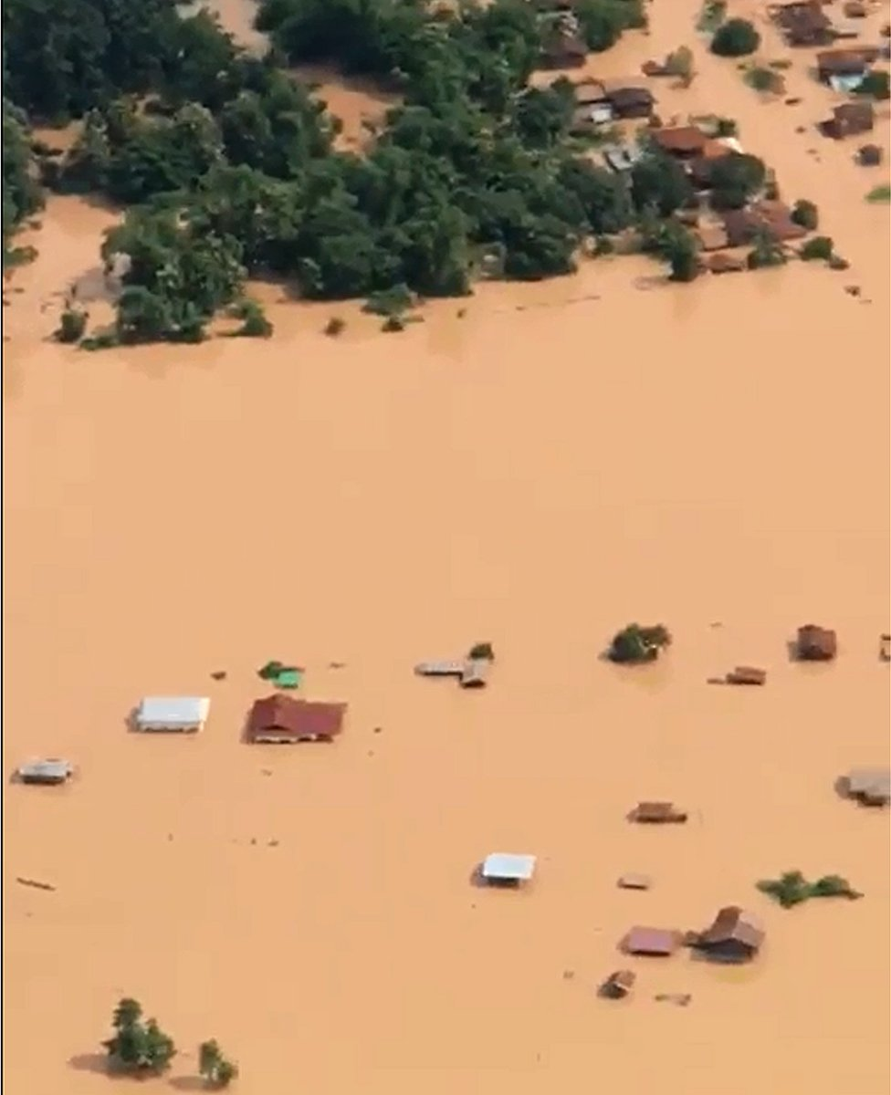 Aerial view of flood-hit villages in Laos. 24 July 2018