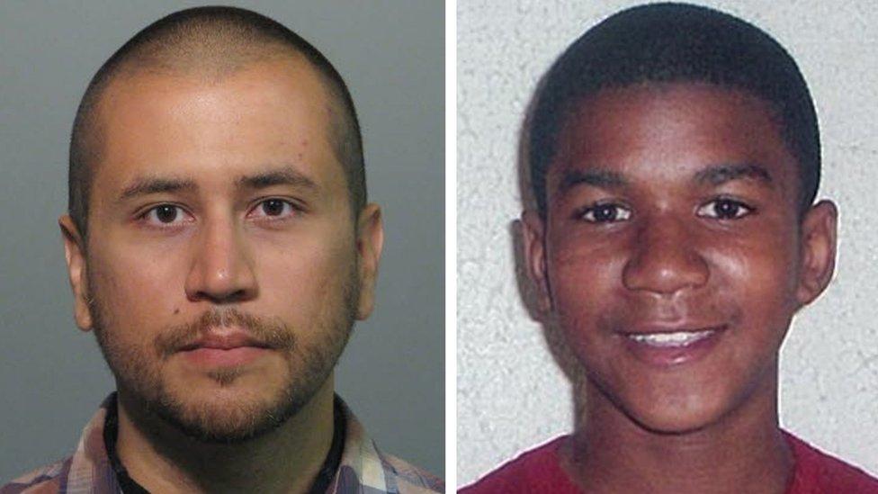 Compsición de George Zimmerman y Trayvon Martin