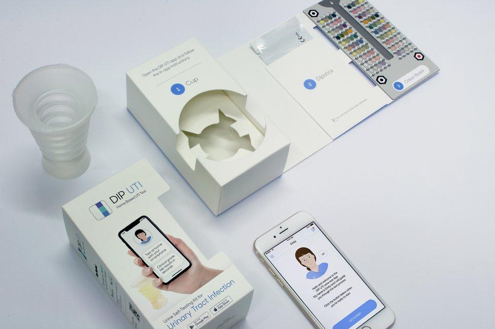 Aplicación y kit análisis de orina Healthy.io.