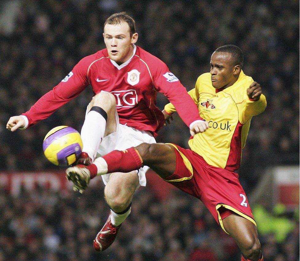 Bangura and Wayne Rooney