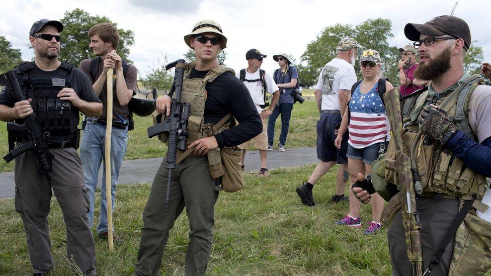 Milicianos en Pennsylvania.