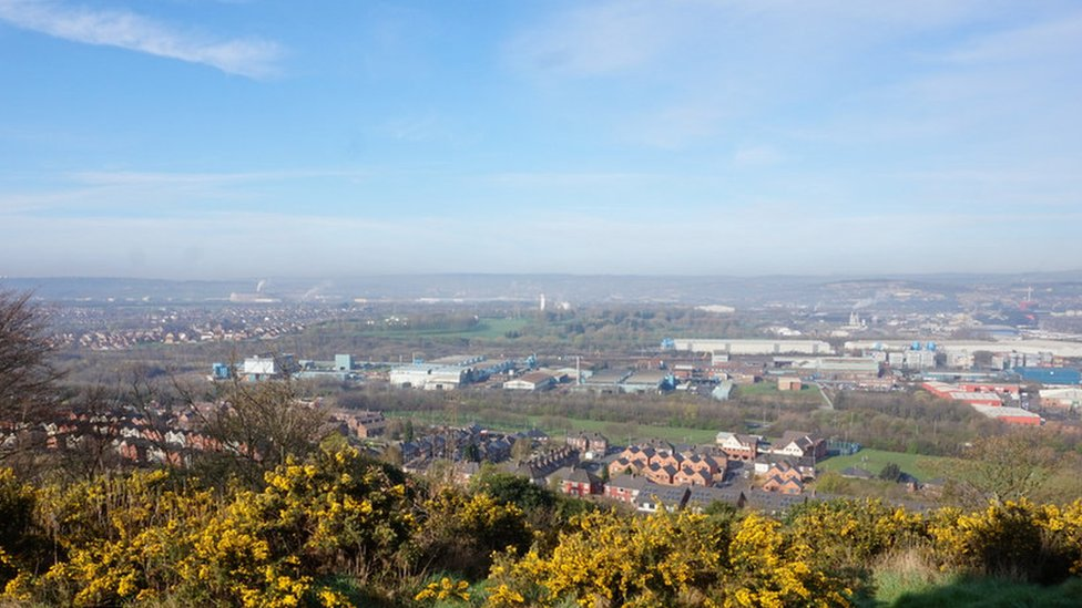 Views across Rotherham from Boston Castle