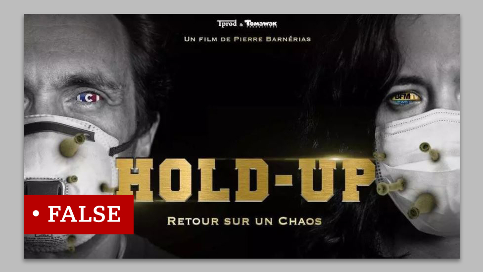 "A poster for a film called ""HOLD-UP"" with an image of the masked faces of a man and a woman with germs coming out their masks."