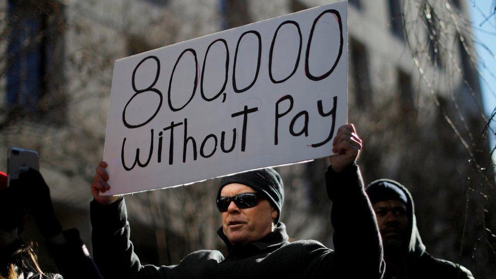 Un empleado gubernamental protesta el cierre del gobierno. Washington, enero 10 de 2019