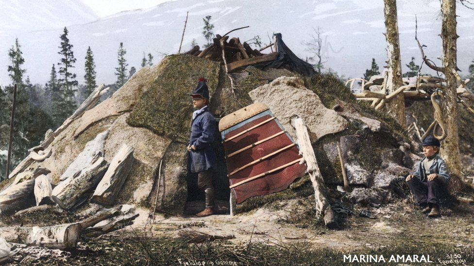 Registro de uma casa do povo saami, natural da Suécia