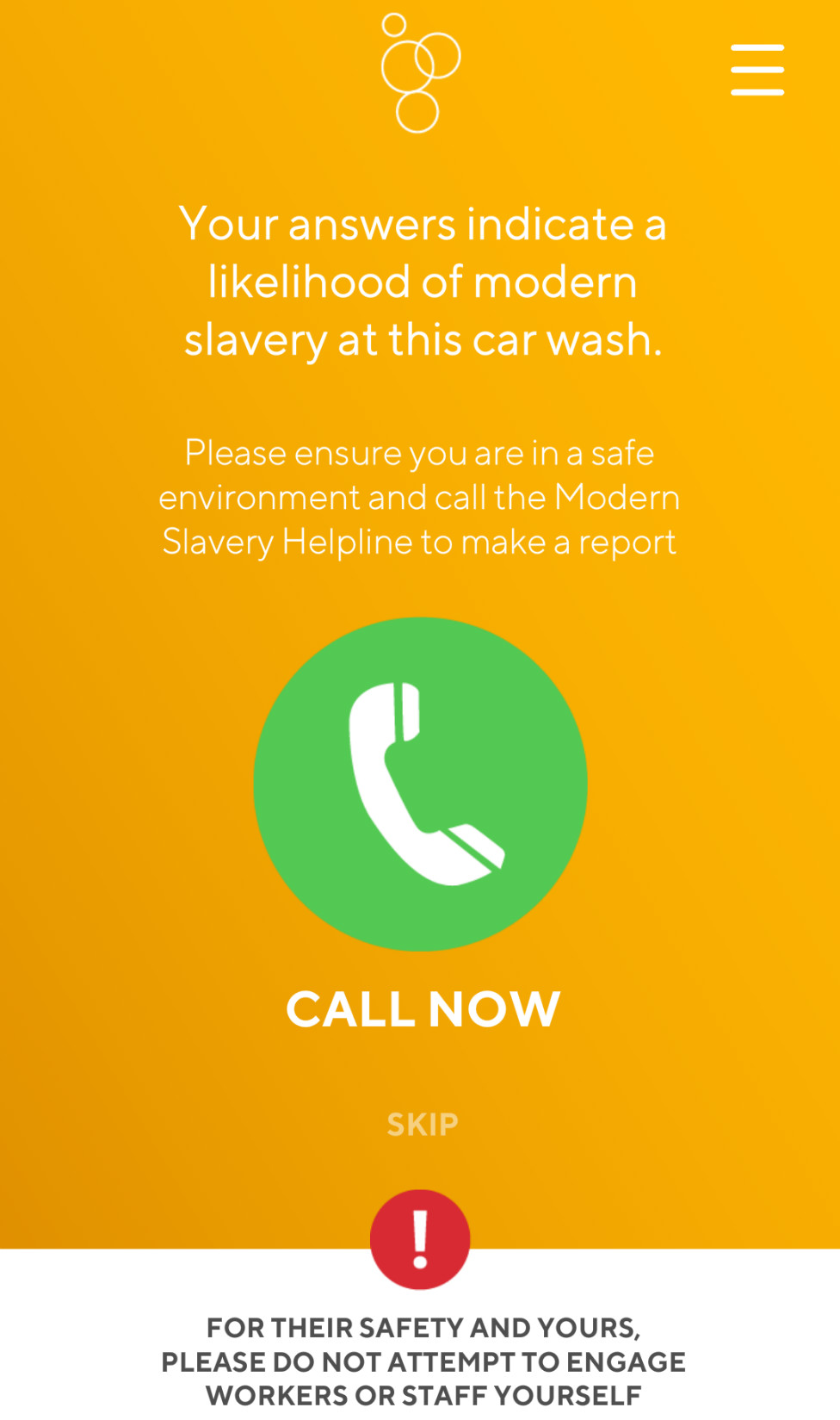 A screen from the Safe Car Wash App