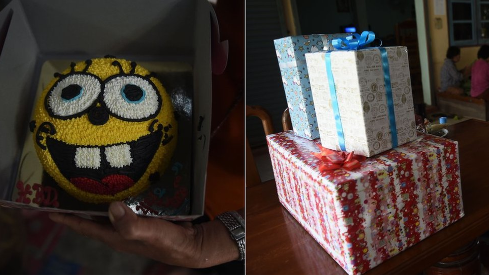 Composite showing the birthday cake, and the presents, Night's family had prepared for him